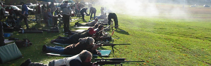 Shooters on the 600-yard firing point at Bisley.